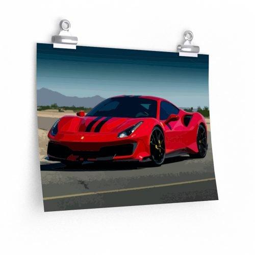Ferrari 488 Pista Vector Art Poster - RevRepublic | Driving Automotive Culture - RevRepublic | Driving Automotive Culture